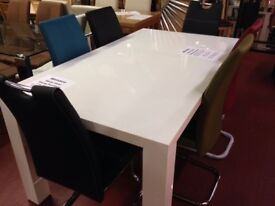 New White high shine large dining table & 6 chairs Only £499