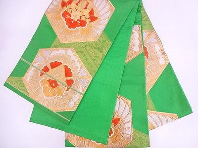 Beautiful Vintage / Antique Japanese Fukuro Obi, Belt For Kimono, Green & Gold