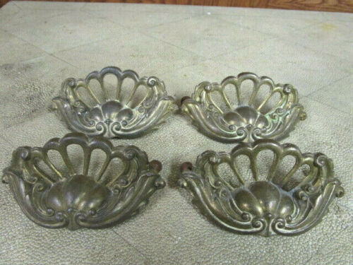 4 Vintage Solid Brass Drawer Pulls, Dresser Handles, etc.