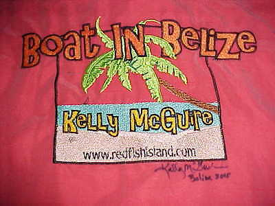 Boat In Belize Kelly McGuire Signed 2010 Bamboo Cay Light Coral Camp Shirt L image