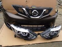 One unit Front end: Bumper Grill and LHD headlight Nissan Qashqai facelift 2010-2013