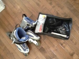 Women's size 8.5 Roller Blades and safety equipment