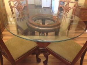 Glass Dining Table (60 inches) With or Without Chairs