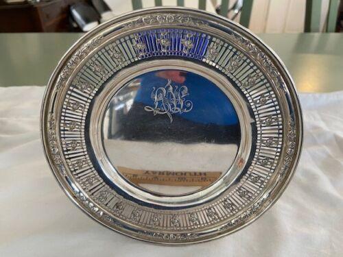 "Antique Watson Rose Sterling Silver Bread & Butter Plates Set 12 6.25"" pierced"