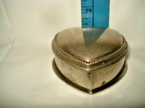 Small Silver Hinged Heart Ring Trinket Box Pink Velvet