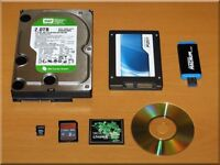 Data recovery from pc / laptop hard drives, usb drives, memory sticks, (North London / Herts / Post)