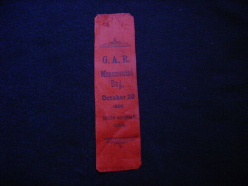 South Norwalk, Connecticut Grand Army Of The Republic 1900 Monumental Day Ribbon