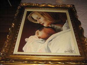 Peinture à l'huile - La mère et l'enfant