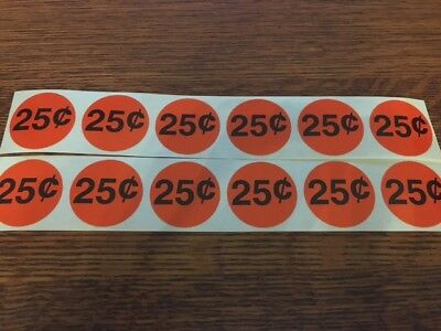 12 Price Stickers Vending Machine Candy Stickers Label .25 Cent Free Shipping