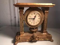 Vintage French Style Gold Resin Quartz Mantel Clock