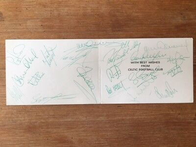 CELTIC, first team squad 1992 signed card. 17 hand signed autographs