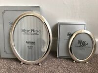 2 x Silver Oval Photo Frames 5 x 7 & 8 x 10 inches (BRAND NEW) Ideal christening or baby gift