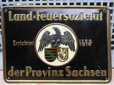 LAND-FEUERSOZIETÄT der PROVINZ SACHSEN geprägtes Blech um 1922