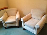 2 x Armchairs and 1 x Footstool (Marks and Spencer) and 3 x Cushions