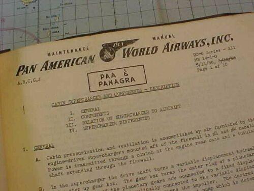 ORIGINAL 1956 PAN AM AIRLINES DC-6 / DC-7 AIRCRAFT MAINTENANCE MANUAL