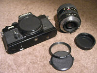 Yashica FR camera, Tokina zoom lense and Autowinder.
