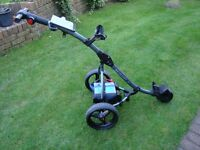 Motocaddy S1 electric golf club trolley with battery and charger