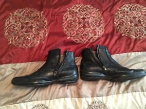 Men's Size 9 Hush Puppy zip-up leather boots