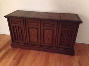 Vintage Solid Wood carved stereo console