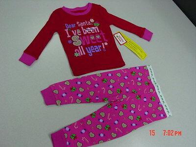 NWT InFant Toddler 2 piece Pajamas Christmas Holiday Glitter Santa Cute Red Pink (Holiday Toddler Pajamas)