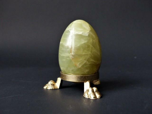 Vintage Onyx Egg On A Lion Foot Stand, Onyx Paperweight