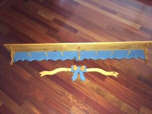 6 Foot Wooden Shelf & Coat Rack and Decorative Wooden Bow