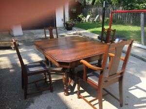 Antique Knechtel Dark Oak Dining Table Set And Hutch Sideboard