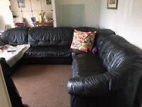 large black leather sofa for free!