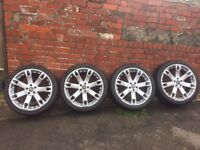 """4 X LAND ROVER OVERFINCH 22"""" SUPER 7 ALLOYS incl. TYRES & NUTS"""
