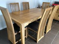 6ft Oak Dining Table and 6 chairs