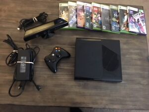 XBOX 360 E with 1 controller, kinect and games
