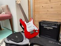 Squier Mini Stratocaster Kids Red Electric Guitar + Ritter Travel Case + Behringer GM108 Amp