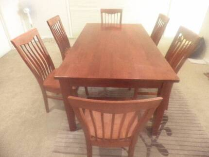 Large wooden dining table with 6 chairs Macquarie Belconnen Area Preview