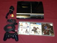 Sony Playstation 3 PS3 Model: CECHL01 80GB 1 controller 3 game