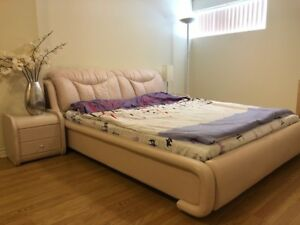 2 leather beds with nightstands