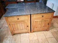 Oak free-standing whole kitchen. Solid granite tops. Inset Belfast sink. Cooker tower and much more