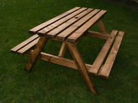 wooden pub picnic bench 6 seater