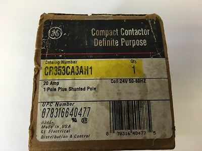 Ge Cr353ca3ah1 Compact Contactor 20 A 1 Pole Plus Shunted Pole Coil 24v 50-60hz