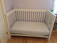 White crib / toddler bed and organic mattress