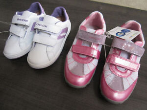Geox, Girls Shoes-REDUCED, sz 9 & 10 (white/lilac),13 & 1 (pink)