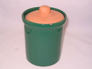 Wide-mouthed Cylindrical Green Glazed Ceramic & Terracotta Jar Peterborough Peterborough Area image 2