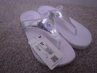 Silver flip flops size 3 , brand new