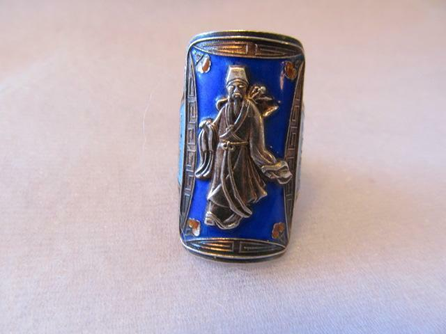 Vintage -Antique Chinese Enamel Sterling Silver Ring