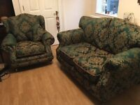 Two seater cottage sofa and arm chair