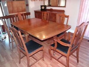 Antique Dining Room Suite 8 piece set solid black walnut !