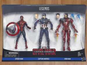 MARVEL LEGENDS CAPTAIN AMERICA IRON MAN SPIDER-MAN 3-PACK MISB