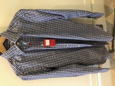 Blue Check Kiton Shirt BNWT Size UK16/EU41