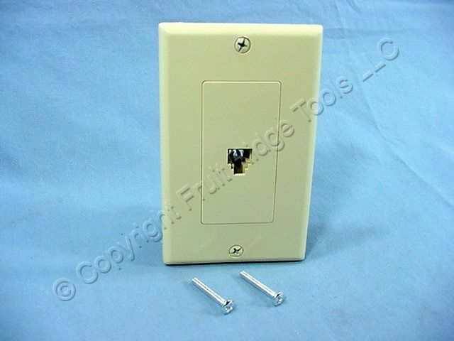 Leviton Ivory Flush Mount Decora Telephone Type 625B4 Jack Wallplate 40949-ID