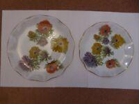 4 Vintage Circular, Oval & Rectangular Floral Cake Plates/Serving Trays - Glass