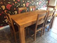 MANGO OAK DINING SET INCLUDING TABLE/CHAIRS/SIDE BOARD/MIRROR RRP £1600 FANTASTIC CONDITION